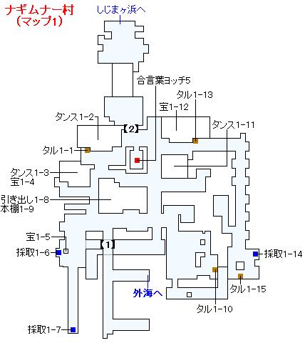 3DS版(2D)ストーリー攻略マップ・ナギムナー村(1)