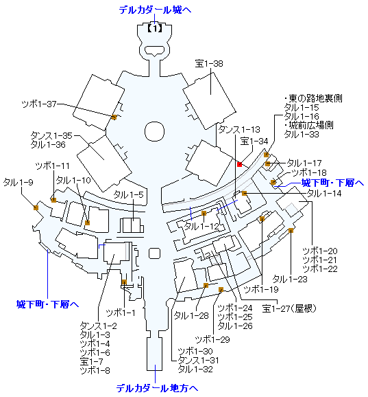 PS4版のストーリー攻略マップ・デルカダール城下町