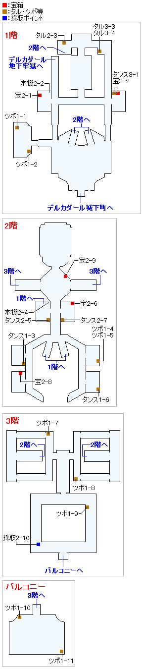 デルカダール城(Switch3DとPS4)のマップ画像