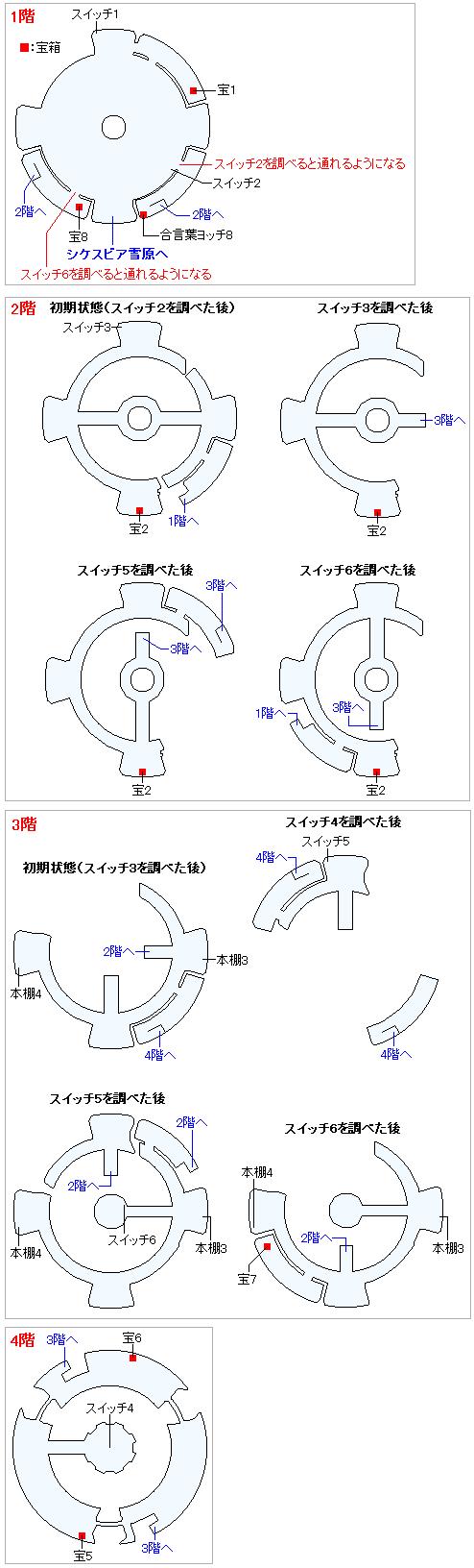 古代図書館(Switch3DとPS4)のマップ画像