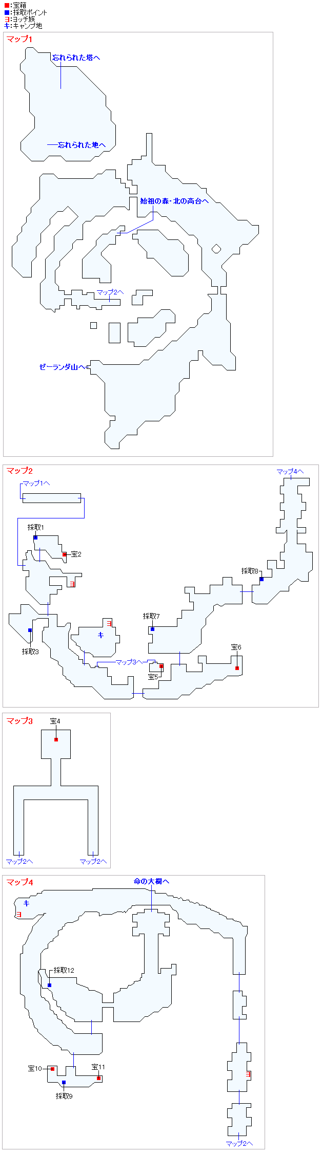 始祖の森(2Dモード)のマップ画像