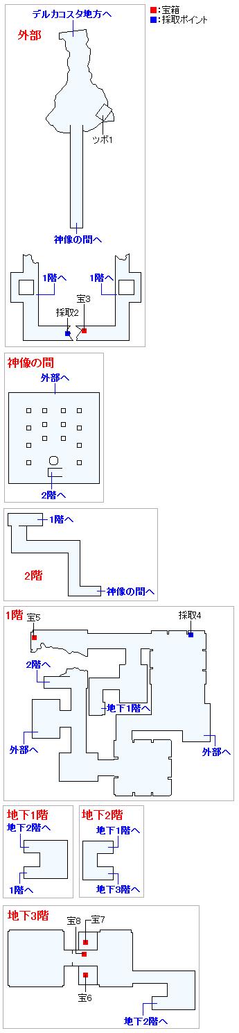 デルカダール神殿(3DS以外の3Dモード)のマップ画像
