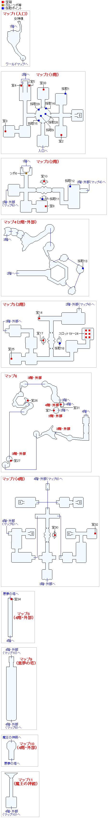 天空魔城(3DSの3Dモード)のマップ画像