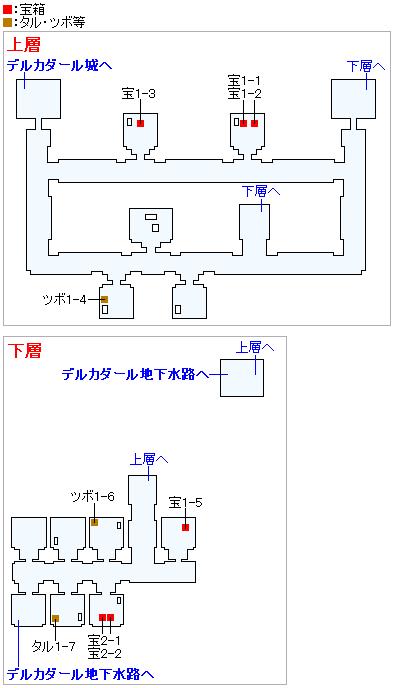 デルカダール地下牢獄(2Dモード)のマップ画像