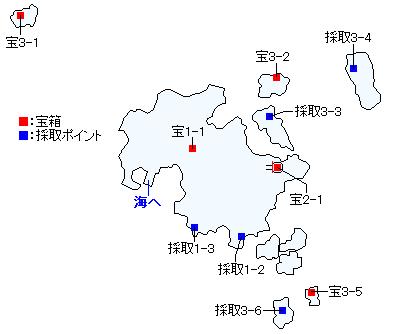 ユグノア・入り江の島(ユグノア地方・入り江の島)(3DS以外の3Dモード)のマップ画像