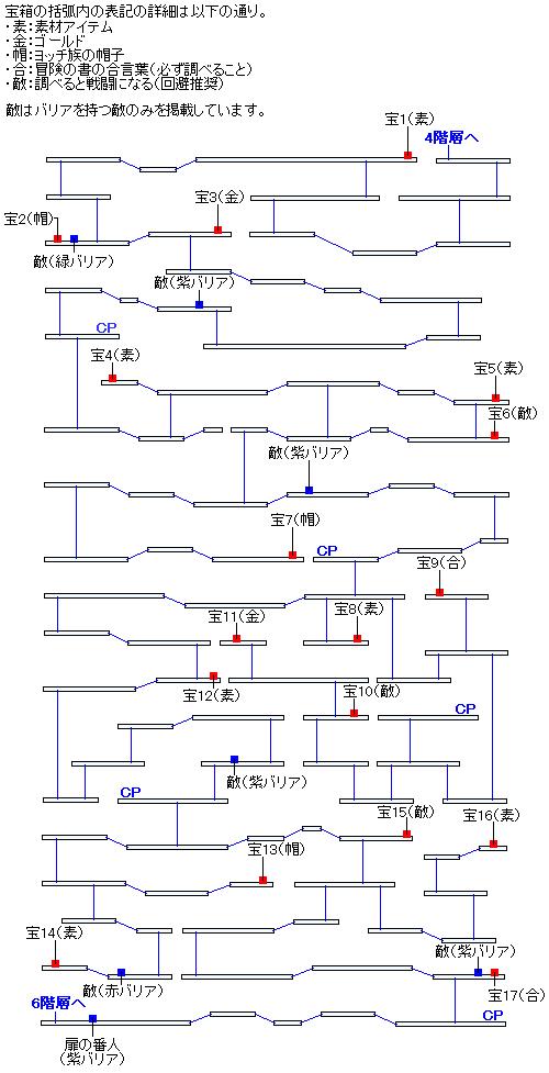 時渡りの迷宮5階層のマップ画像