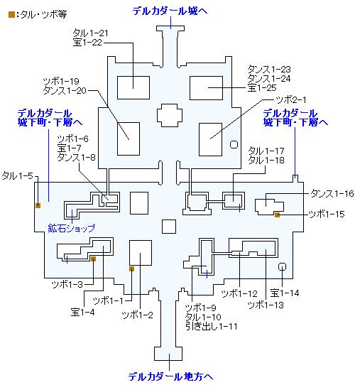 デルカダール城下町(3DS・3Dモード)のマップ画像