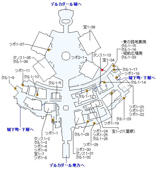 デルカダール城下町(Switch3DとPS4)のマップ画像