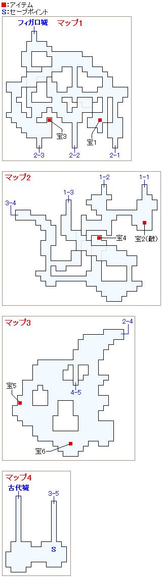 古代城への洞窟のマップ画像