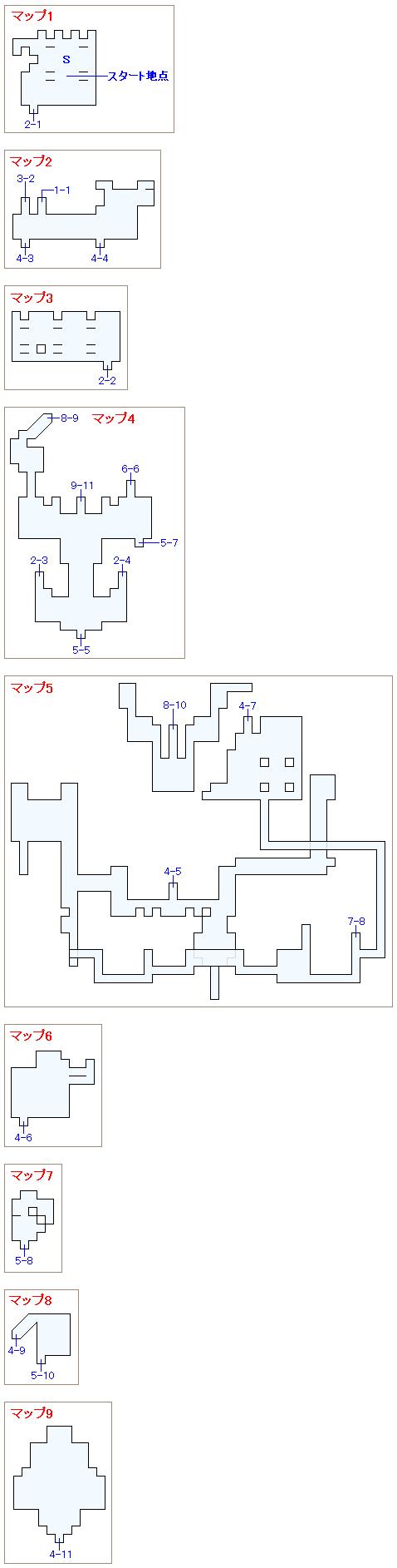 夢のダンジョン(ドマ城フロア)のマップ画像