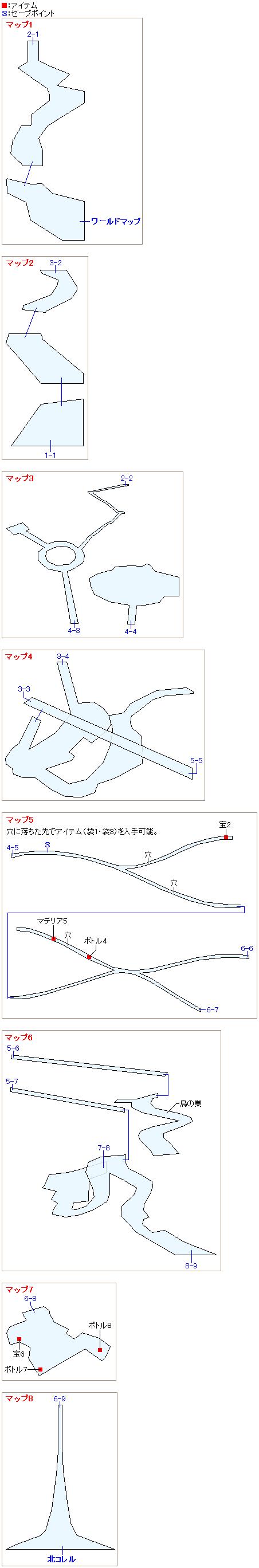 コレル山のマップ