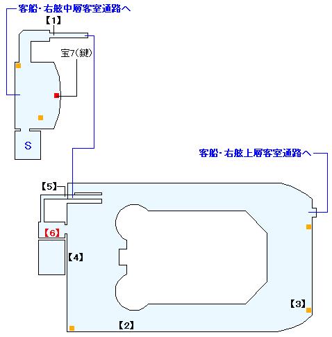 シドウ・パレス 客船・プールデッキの攻略マップ
